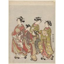 Suzuki Harunobu: Courtesan and Attendants on Parade - Museum of Fine Arts