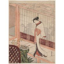 Suzuki Harunobu: Parody of the Muken no Kane Scene in the Play Hiragana Seisuiki: Woman Standing on a Veranda outside a Room with a Party - Museum of Fine Arts