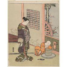 鈴木春信: Woman Looking at a Sleeping Tea-boy (Chabôzu) - ボストン美術館