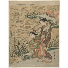Suzuki Harunobu: Two Women with Reeds and Waterside Cottages - Museum of Fine Arts