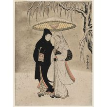 鈴木春信: Lovers under an Umbrella in the Snow - ボストン美術館