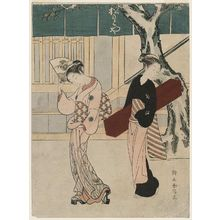 Suzuki Harunobu: Geisha and Assistant in Front of the Matsumotoya - Museum of Fine Arts