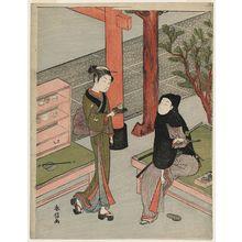Suzuki Harunobu: Osen of the Kagiya and a Young Samurai in a Black Hood - Museum of Fine Arts
