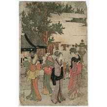 Utagawa Toyohiro: Visiting Myôhô-ji Temple at Horinouchi on New Year's Day (Horinouchi Myôhô-ji ehô mairi no zu) - Museum of Fine Arts