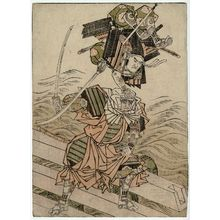 北尾重政: Tsutsui Jômyô and Ichirai Hôshi on Uji Bridge, from the book Ehon musha waraji (Picture Book: The Warrior's Sandals) - ボストン美術館