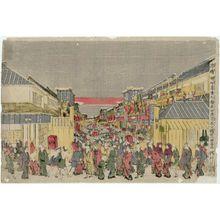 歌川豊春: Perspective View of the Theaters in Sakai-chô and Fukiya-chô on Opening Night (Uki-e Sakai-chô Fukiya-chô kaomise yo shibai no zu) - ボストン美術館