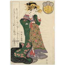 Kitagawa Shikimaro: Hanazuma of the Matsuba-rô, kamuro Sakura and Miyako, from the series Female Poetic Immortals in the Modern Style, a Set of Thirty-six (Imayô onna kasen, sanjûrokuban tsuzuki) - ボストン美術館