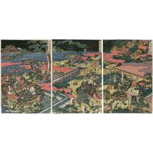 勝川春亭: The Downhill Attack at Hiyodorigoe (Hiyodorigoe sakaotoshi no zu) - ボストン美術館