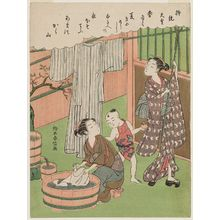 Suzuki Harunobu: Poem by Jitô Tennô, from an untitled series of One Hundred Poems by One Hundred Poets (Hyakunin isshu) - Museum of Fine Arts