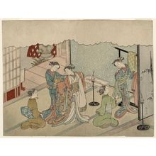 Suzuki Harunobu: The Bride Changing Clothes (Iro-naoshi), sheet 5 of the series Marriage in Brocade Prints, the Carriage of the Virtuous Woman (Konrei nishiki misao-guruma), known as the Marriage series - Museum of Fine Arts
