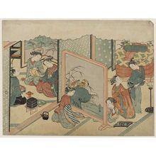 Suzuki Harunobu: The Cup of Sake before Bed (Toko-sakazuki), sheet 6 of the series Marriage in Brocade Prints, the Carriage of the Virtuous Woman (Konrei nishiki misao-guruma), known as the Marriage series - Museum of Fine Arts
