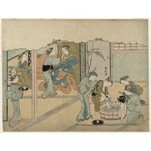 Suzuki Harunobu: The Birth of the First Child (Uizan), sheet 7 of the series Marriage in Brocade Prints, the Carriage of the Virtuous Woman (Konrei nishiki misao-guruma), known as the Marriage series - Museum of Fine Arts