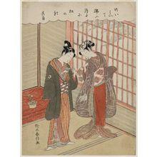 Suzuki Harunobu: Poem by Kikaku: Couple with a Pet Mouse - Museum of Fine Arts