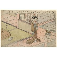 Suzuki Harunobu: Woman Standing on a Veranda - Museum of Fine Arts