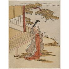 Komatsuken: Court Lady Standing beside a Veranda - ボストン美術館