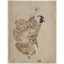 石川豊信: Young Woman with Her Clothing Blown by the Wind - ボストン美術館