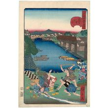歌川広景: No. 24, Sukiya-gashi Embankment (Sukiya-gashi), from the series Comical Views of Famous Places in Edo (Edo meisho dôke zukushi) - ボストン美術館