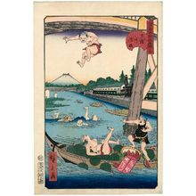Utagawa Hirokage: No. 19, Mitsumata at the Great Bridge (Ôhashi no Mitsumata), from the series Comical Views of Famous Places in Edo (Edo meisho dôke zukushi) - Museum of Fine Arts