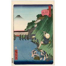Utagawa Hirokage: No. 4, Fishermen at Ochanomizu (Ochanomizu no tsuribito), from the series Comical Views of Famous Places in Edo (Edo meisho dôke zukushi) - Museum of Fine Arts