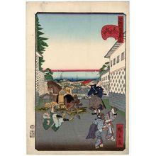 歌川広景: No. 15, Distant View at Kasumigaseki (Kasumigaseki no chôbô), from the series Comical Views of Famous Places in Edo (Edo meisho dôke zukushi) - ボストン美術館