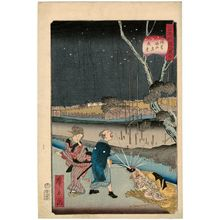 歌川広景: No. 18, Night Scene at Horitahara in Asakusa (Asakusa Horitahara yakei), from the series Comical Views of Famous Places in Edo (Edo meisho dôke zukushi) - ボストン美術館