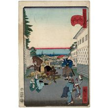 歌川広景: No. 15, Distant View at Kasumigaseki (Kasumigaseki no chôbô), from the series Comical Views of Famous Places in Edo (Edo meisho dôke zukushi) - ボストン美術館