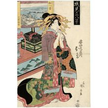 Utagawa Kuniyasu: Eight Views of Japan, Miho no Matsubara (Yamato hakkei, Miho no Matsubara): Asuka of the Sugata-Ebiya, from the series Courtesans Compared to Eight Views (Keisei mitate hakkei) - Museum of Fine Arts