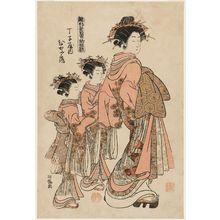 磯田湖龍齋: Hinazuru of the Chôjiya, from the series Models for Fashion: New Year Designs as Fresh as Young Leaves (Hinagata wakana no hatsu moyô) - ボストン美術館