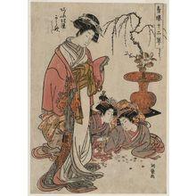 磯田湖龍齋: Karauta of the Ôgiya, kamuro Teriha and Wakaba, from the series Twelve-layered Robes in the Yoshiwara (Seirô jûni hitoe) - ボストン美術館