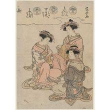 磯田湖龍齋: The Syllable Ra: Courtesans of the Naka-Ômiya: Mitsuura, kamuro Momiji and Mihono; Yorozudayû, kamuro Hatsune and Kochô; and Miyakoji, kamuro Chieda and Mojie; from the book Azuma nishiki matsu no kurai (High-ranking Courtesans of Edo) - ボストン美術館