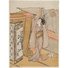 Isoda Koryusai: Young Woman Hanging a Mosquito Net, with Insect Cage and Cat - Museum of Fine Arts