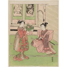 Isoda Koryusai: Young Couple with New Year Decorations - Museum of Fine Arts
