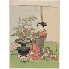 Isoda Koryusai: Courtesan Arranging Flowers for New Year - Museum of Fine Arts