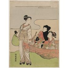 Isoda Koryusai: Couple in a Boat and Young Man Dressed as a Komusô - Museum of Fine Arts