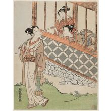 Isoda Koryusai: Young Man with Fishing Pole and Two Girls at a Window - Museum of Fine Arts