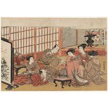 Isoda Koryusai: A Party in the Yoshiwara, Sheet 1 of the series Twelve Bouts of Lovemaking (Shikidô tokkumi jûni-tsugai) - Museum of Fine Arts
