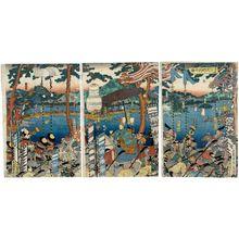 Utagawa Sadahide: Lord Minamoto Yoritomo's Great Procession to Kyoto (Minamoto Yoritomo kô jôkyô dai gyôretsu no zu) - Museum of Fine Arts