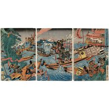 Utagawa Sadahide: Great Battle between the Minamoto and the Taira at Akama... (...Akama... Genpei ôgassen) - Museum of Fine Arts