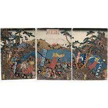 歌川貞秀: Minamoto Yoritomo Ôshû... gyôretsu no zu - ボストン美術館
