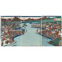Utagawa Sadahide: The Armies of Kai and Echigo Provinces Confront Each Other at Kawanakajima (Kawanakajima Kôetsu taijin no zu) - Museum of Fine Arts