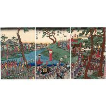 歌川貞秀: The Forces of Takeda Shingen Returning after the Victory at Kawanakajima (Takeda Shingen Kawanakajima shôsen kijin gyôretsu no zu) - ボストン美術館