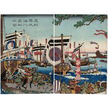 歌川貞秀: Ashikaga Takauji Sets Sail for Minatogawa (Ashikaga Takauji Minatogawa e shukkô no zu) - ボストン美術館