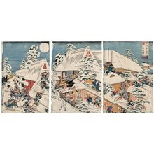 Utagawa Sadahide: The Loyal Retainers Achieve Their Goal, a Triptych (Gishi honmô o togeru no zu, sanmai tsuzuki) - Museum of Fine Arts