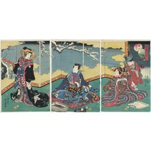 二代歌川国貞: The First Month (Mutsuki), from the series The Five Festivals Represented by Eastern Genji (Azuma Genji mitate gosekku) - ボストン美術館