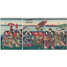二代歌川国貞: Palace Ladies on a Sightseeing Trip (Jochû meisho kenbutsu zu) - ボストン美術館