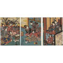 Utagawa Kunisada II: New Year Amusements: A Manzai Dance for Murasaki (Hatsuharu no asobi Murasaki manzai) - Museum of Fine Arts
