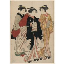 北尾重政: Geisha, Assistant, and Maid Carrying Shamisen Case - ボストン美術館