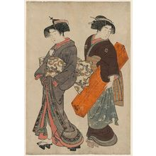 北尾重政: Geisha and Maid Carrying Shamisen Box - ボストン美術館