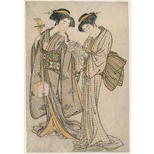 北尾重政: Two Geisha Holding a Shamisen and a Libretto - ボストン美術館