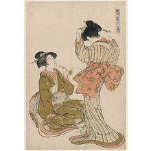 Kitao Shigemasa: Two Beauties, from the series Beauties of the Eastern Quarter (Tôhô bijin no zu) - Museum of Fine Arts